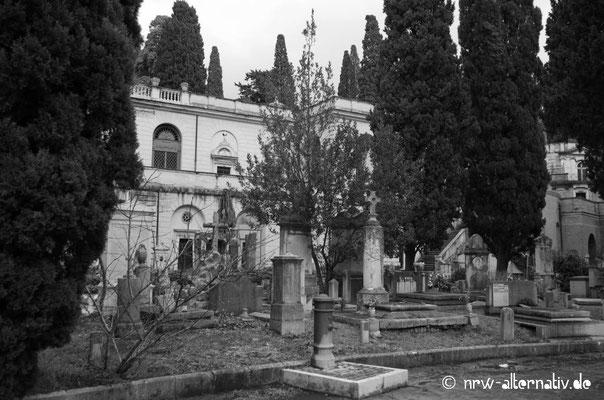 So schattig ist es auf dem Friedhof in Rom.