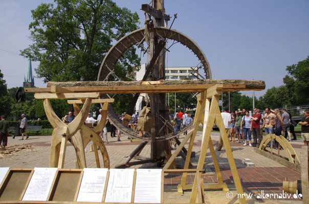 Dieses Rad kann per Menschenkraft angetrieben werden ...
