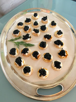 Caviar with creme fraiche on blinis by ZsL