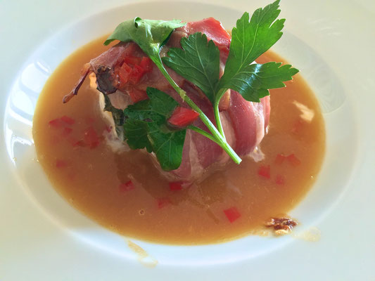 Monk fish wrapped with pancetta in an orange sauce by ZsL