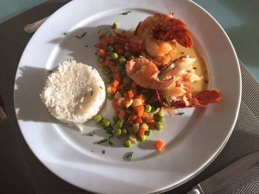 Lobster with steamed vegetables and white rice by ZsL