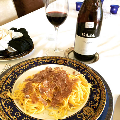 Tagliolini with white truffles by ZsL with a bottle of Gaja