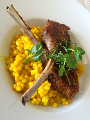 Panned lamb chops with saffron pearl pasta by ZsL