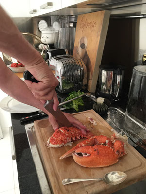 Zsolt preparing the lobster dish