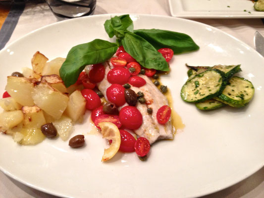 Fish Ligurian style with cherry tomatoes, basil and vegetables by ZsL