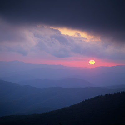 Sonnenuntergang von Clingmans Dome I Great Smoky Mountains Nationalpark I North Carolina