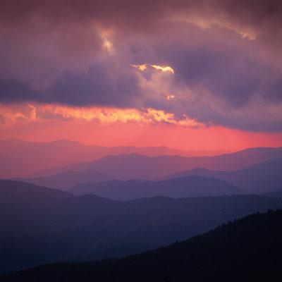 Sonnenuntergang von Clingmans Dome I Great Smoky Mountains Nationalpark I North Carolina