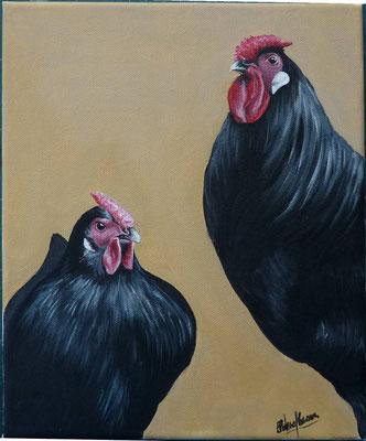 Poule & Coq d'Alsace - 25x30cm - Acrylique sur toile - 120€