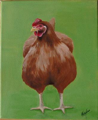 Poule Rousse - 25x30cm - Acrylique sur toile - 120€