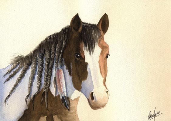Paint horse à la plume - 21x30cm - Aquarelle - 60€
