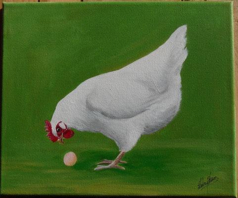 Une Poule, Un Oeuf - 25x30cm - Acrylique sur toile - 120€