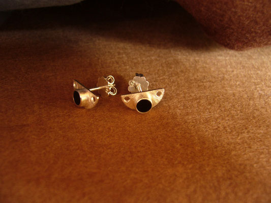 Ohrstecker: 925/- Sterlingsilber mit Onyx.