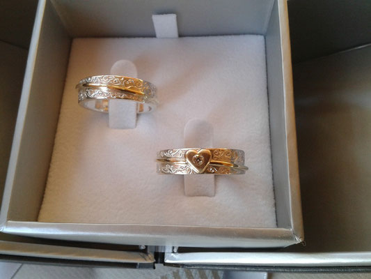Ringe 925/- Sterlingsilber mit 585/- Gold und Brillant
