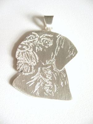 Anfertigung auf Kundenwunsch: 925/- Sterlingsilber, geätzt. Der Hundekopf....