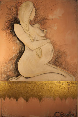 Assisted Conception, 120  x 80 x 3 (cm), Acrylic, Pastel, Pencil Crayon, & Graphite on Canvas, 2011.