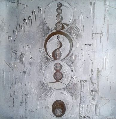 Division, 100x100cm (x3cm),  Acrylic, pastel, pencil crayon, graphite, thread, gauze and feather on canvas, 'Canvas Sculpture' Collection, 2013.