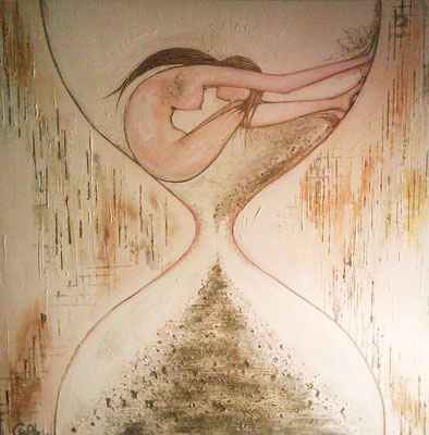 In Time, 90 x 90 (x3cm depth), Acryrlic, Sand, Gold Flecks, Pastel, Pencil Crayon & Graphite on Canvas, 2012.