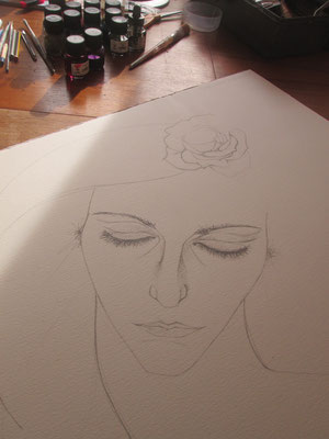 Inside the studio - drawing 'Mind in Bloom