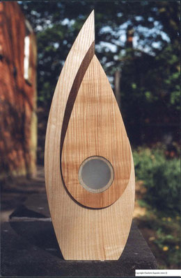The Protected Self - Solid Ash, Fumed Oak and Sand Blasted Glass, 55cm Height x 20cm Width x 4cm Depth.