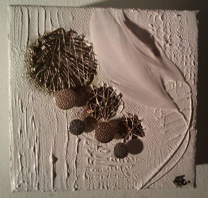 Tiny Art - acrylic, gauze, thread, feathers and buttons on canvas. 10 x 10 (x4cm), 2012.