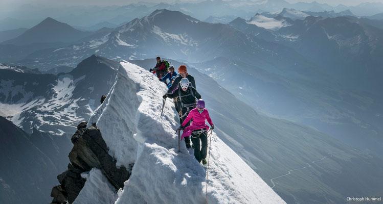 die exponierten Passagen vor dem Gipfel