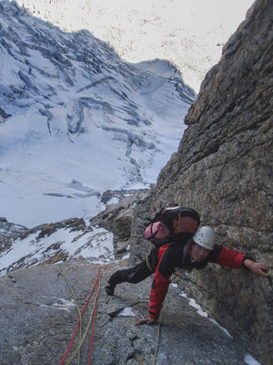 "perfekter Granit in der 75m langen ""langen Verschneidung"""