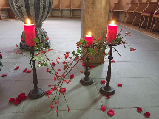 Ausschnitt Dekoration für die Trauerfeier