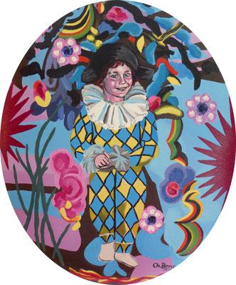 Mein Neffe im Picasso-Gewand, 2011. Mischtechnik auf ovaler, gepolsterter Leinwand. 50x40cm