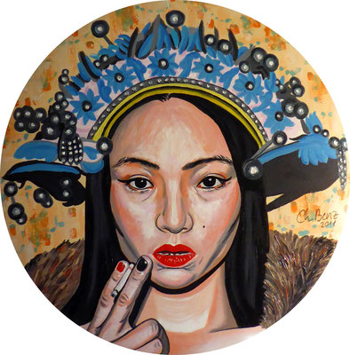 Königin aus Kapstadt, 2018. Öl auf gepolsterten Leinwandtondo 80cm