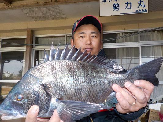 3月1日 磯釣りで川上さん チヌ41㎝