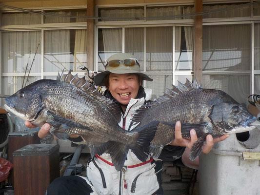3月15日 磯釣りで田中さん ガバチヌ50㎝