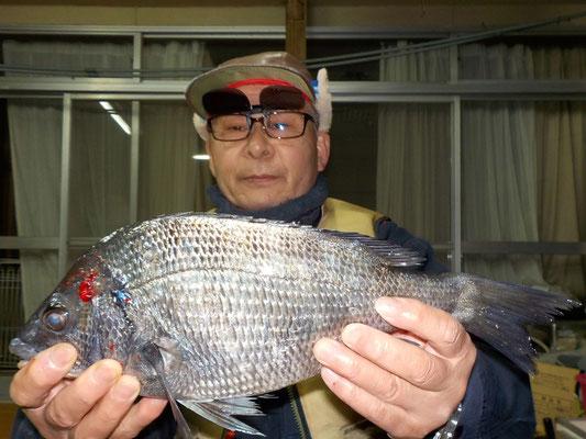 3月3日 磯釣りで坂井さん チヌ1匹