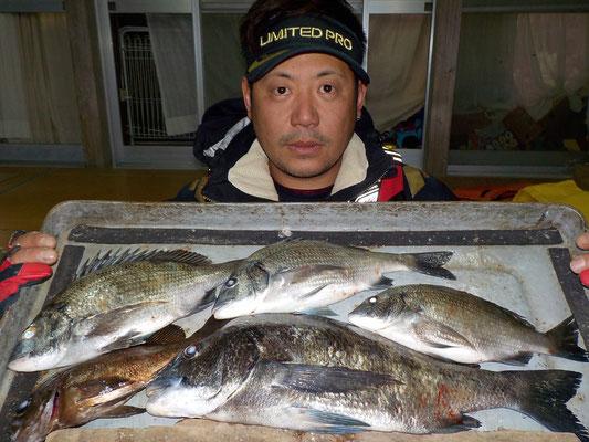 3月4日 磯釣りで吉山さん チヌ43㎝を頭に4匹 メバル1匹