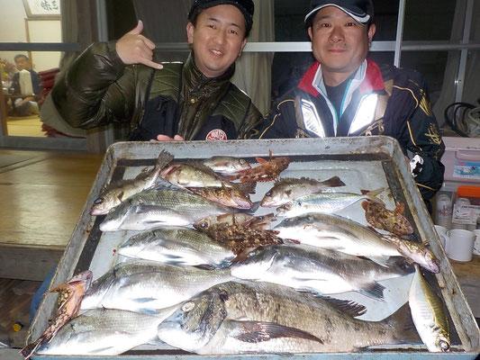 4月1日 磯釣りで上田さん 斉藤さん チヌ41㎝を頭に7匹 メバル、ガラカブ、アジ