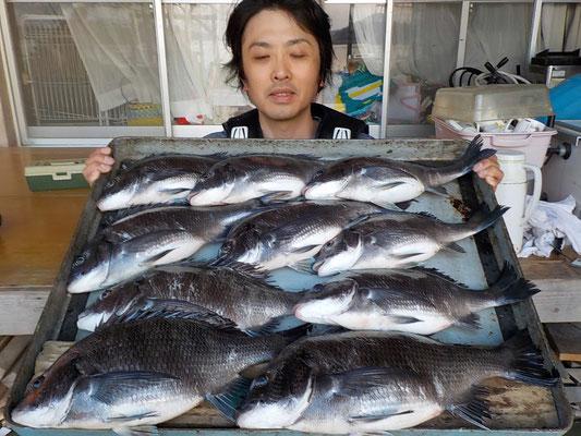 4月4日 磯釣りで森本さん チヌ40㎝~35㎝を10匹