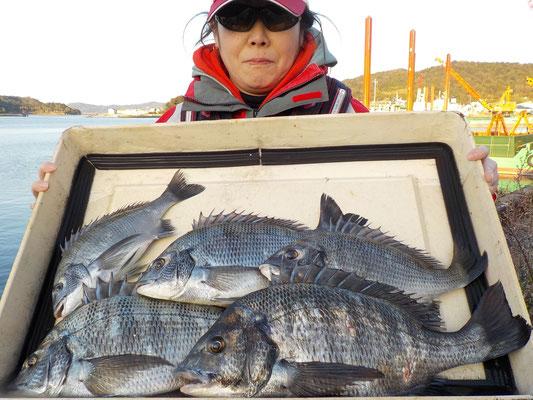 3月4日 磯釣りで中村さん 良型チヌ45㎝を頭に5匹