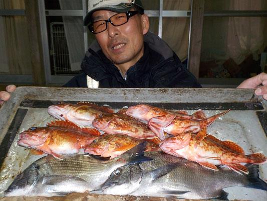 3月4日 ダゴチン釣りで宮崎さん メイタ2匹 ガラカブ7匹