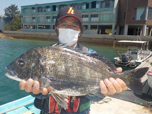 4月15日 ボート釣りで川端さん ガバチン51.5cm