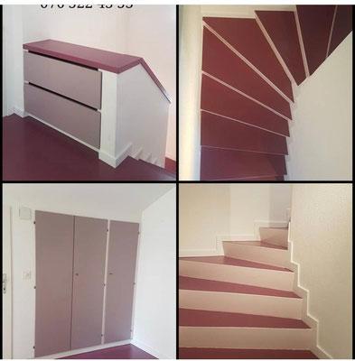Die Farbgestaltung im Wohnhaus.