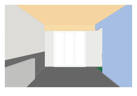 Das Farbkonzept für das Bewohnerzimmer. Zu er Holzdecke wurde eine himmelblaue Wand vorgeschlagen