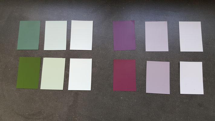 Das Farbkonzept für die Umgestaltung der Treppe und des Korridors.