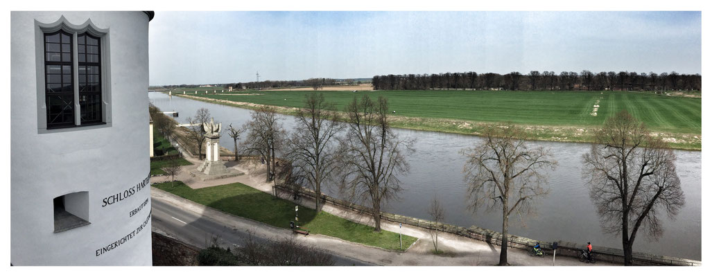 Blick von Schloß Hartenfels auf die Elbe. Torgau, April 2016.