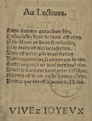 """François Rabelais (Alcofribas Nasier) : Envoi au lecteur de """" Gargantua """" (1533-1534 ou / or 1535)"""