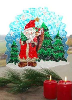 Weihnachtliches Fensterbild - Weihnachtsmann in Winderlandschaft