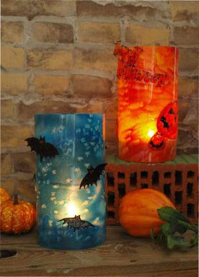 Schaurig schönes Halloween - Laternen dekoriert mit Window Color