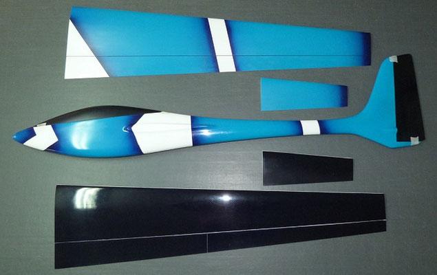 planeur Voltij Aeromod déco Nemo turquoise blanc bleu foncé