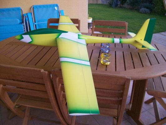 planeur Voltij Aeromod déco Nemo jaune blanc vert