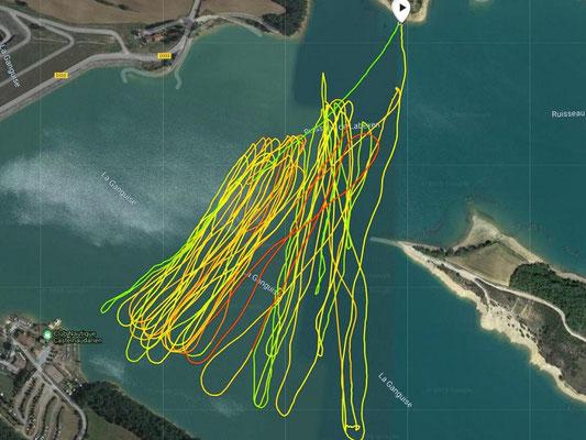 windfoil aeromod v2 : trace GPS de la navigation du 1er décembre 2020