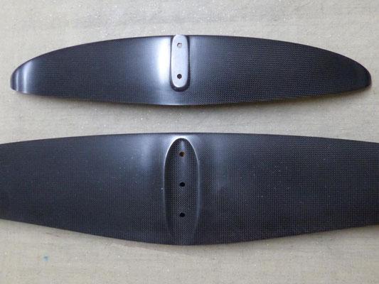 dessous de l'aile Easy XL et du stab - windfoil aeromod version 2, noir carbone apparent