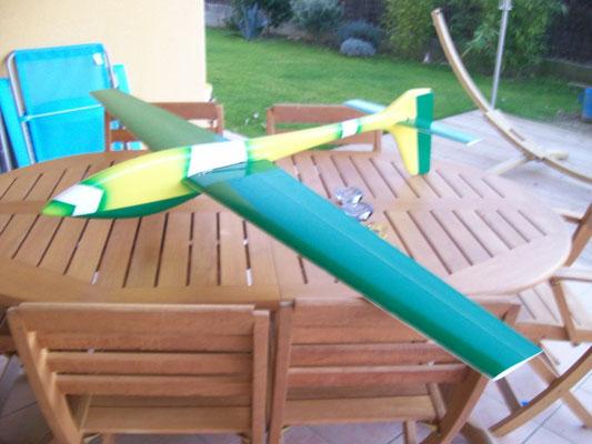 planeur Voltij Aeromod déco Nemo jaune blanc vert  vu de dessous